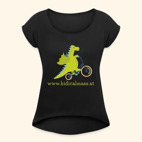 Musikdrache für dunklen Hintergrund - Frauen T-Shirt mit gerollten Ärmeln