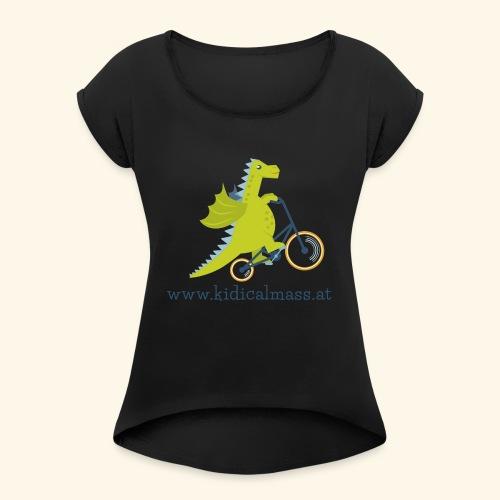 Musikdrache für hellen Hintergrund - Frauen T-Shirt mit gerollten Ärmeln