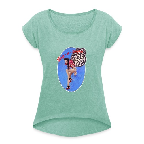 Vintage Rockabilly Butterfly Pin-up Design - Women's T-Shirt with rolled up sleeves