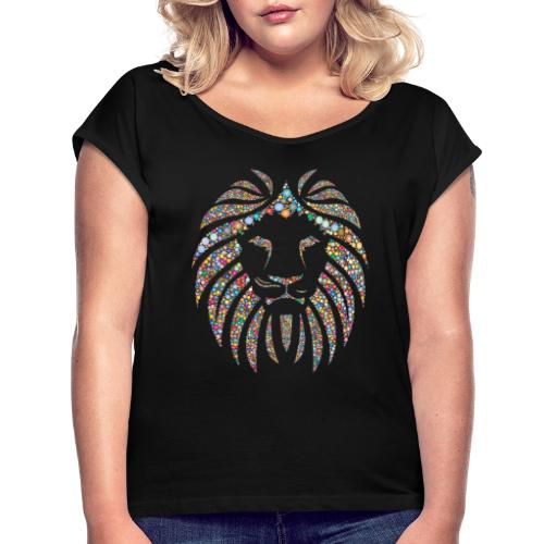 lion design - T-shirt à manches retroussées Femme
