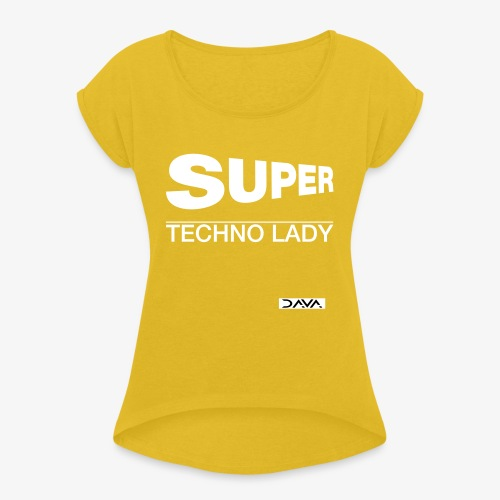 Techno Lady - white - Women's T-Shirt with rolled up sleeves