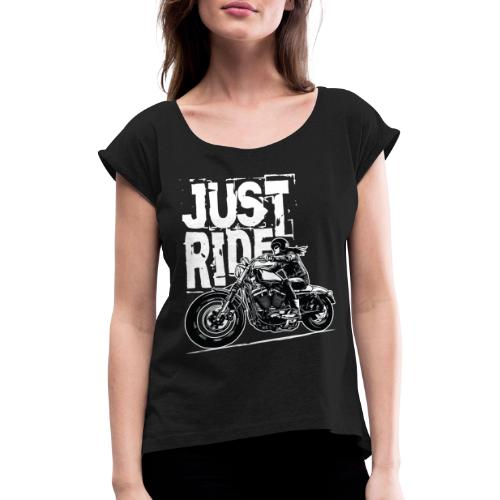 Biker Girl White - Women's T-Shirt with rolled up sleeves