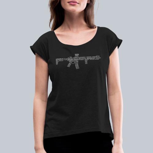 TXT RIFLE (White) - REAPERs Airsoft - Frauen T-Shirt mit gerollten Ärmeln