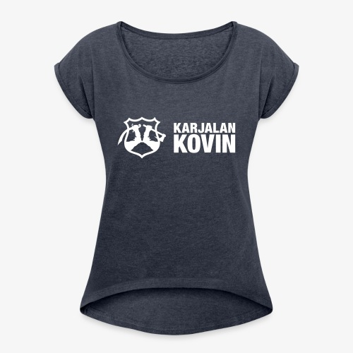 karjalan kovin vaaka - Naisten T-paita, jossa rullatut hihat
