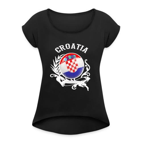 T SHIRT CROATIA Fußball-Europameisterschaft 2020 - - Frauen T-Shirt mit gerollten Ärmeln