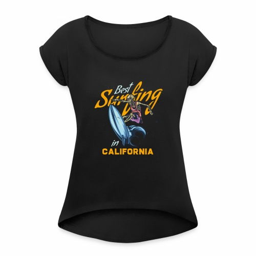 Surfing in California - Frauen T-Shirt mit gerollten Ärmeln