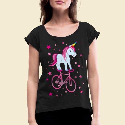 Kunstrad   Einhorn Pink - Frauen T-Shirt mit gerollten Ärmeln