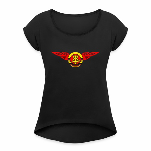 GDR flames crest 3c - Women's T-Shirt with rolled up sleeves