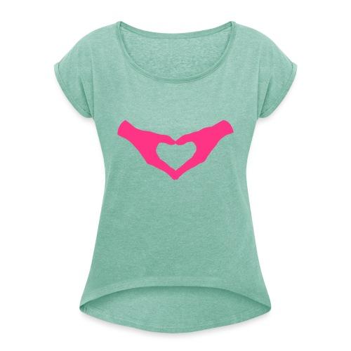 Herz Hände / Hand Heart 2 - Frauen T-Shirt mit gerollten Ärmeln