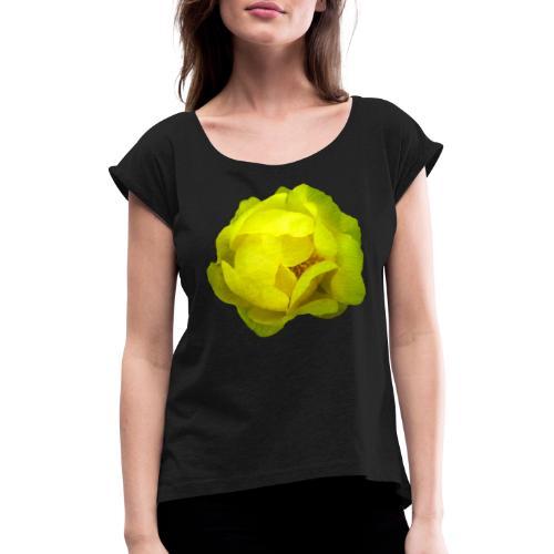 Trollblume gelb Sommer - Frauen T-Shirt mit gerollten Ärmeln