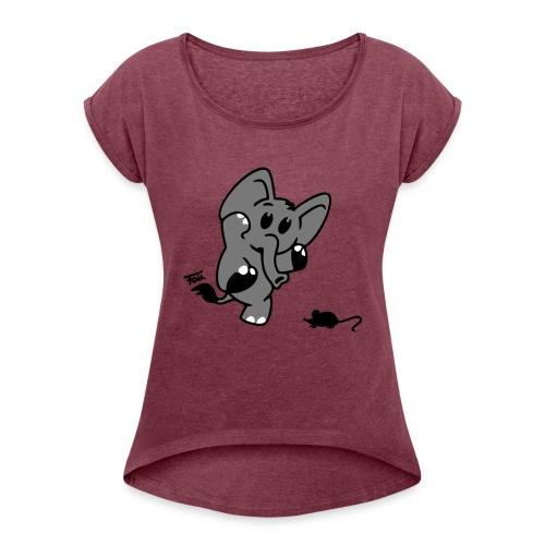 Elefant + Maus - colored - Frauen T-Shirt mit gerollten Ärmeln