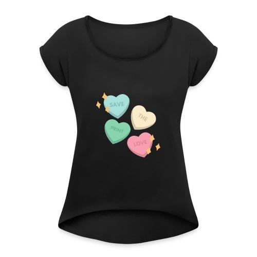 Save Print Love - Maglietta da donna con risvolti