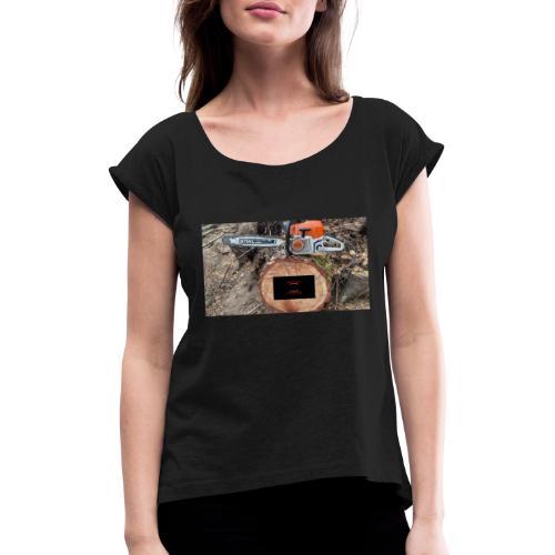 DIESEL POWER Stihl MS 400C - Frauen T-Shirt mit gerollten Ärmeln