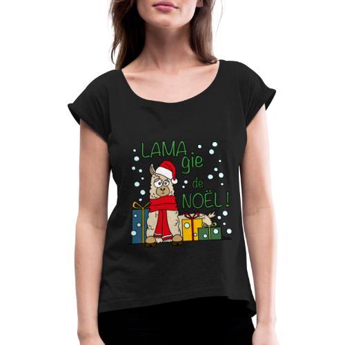 Lama, Magie de Noël, Happy Christmas, Pull moche - T-shirt à manches retroussées Femme