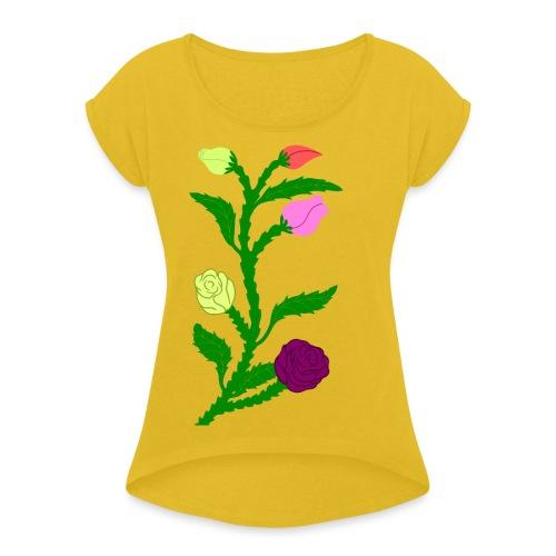 fleurs - T-shirt à manches retroussées Femme