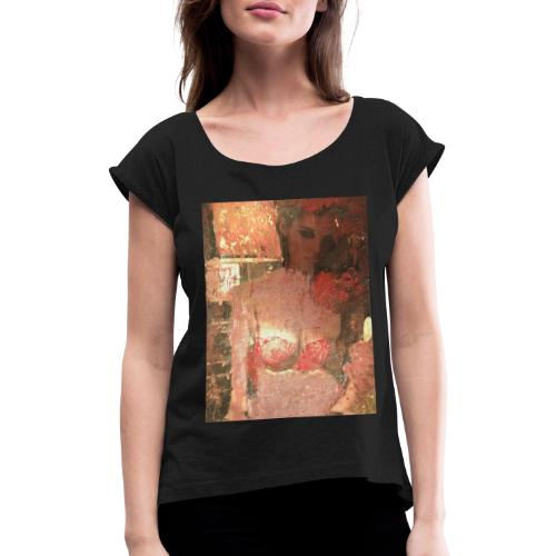 Original Art: Seductive lady - Women's T-Shirt with rolled up sleeves