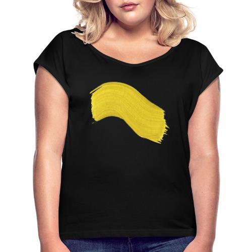 Yellow paint - T-skjorte med rulleermer for kvinner