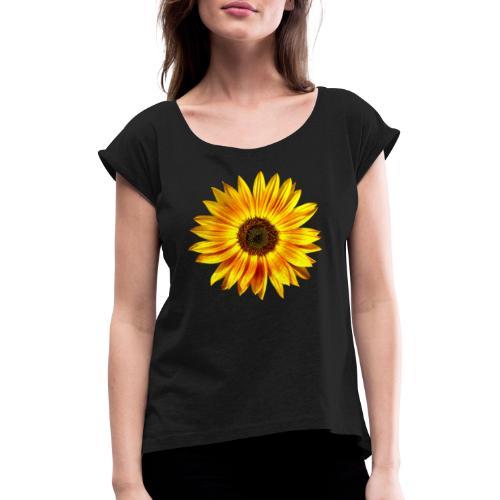 Sonnenblume gelb Sommer - Frauen T-Shirt mit gerollten Ärmeln