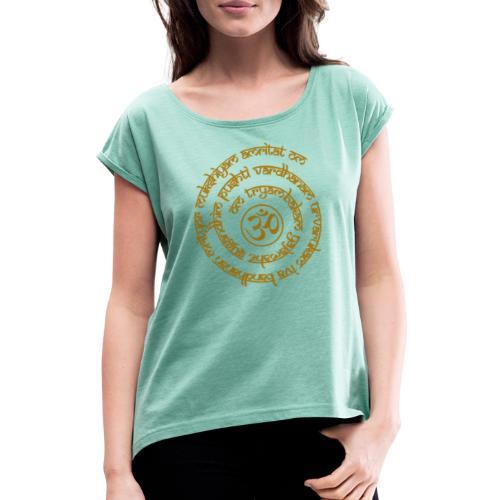 Yoga Mantra Motiv Tryambakam Heilmantra Gold - Frauen T-Shirt mit gerollten Ärmeln
