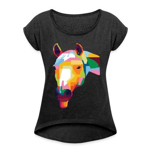 Pferde WPAP Design - Frauen T-Shirt mit gerollten Ärmeln