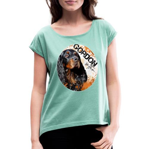 Gordon Setter Splash - Naisten T-paita, jossa rullatut hihat