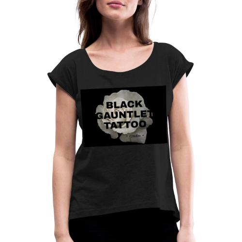 Black Gauntlet - White Rose - Women's T-Shirt with rolled up sleeves