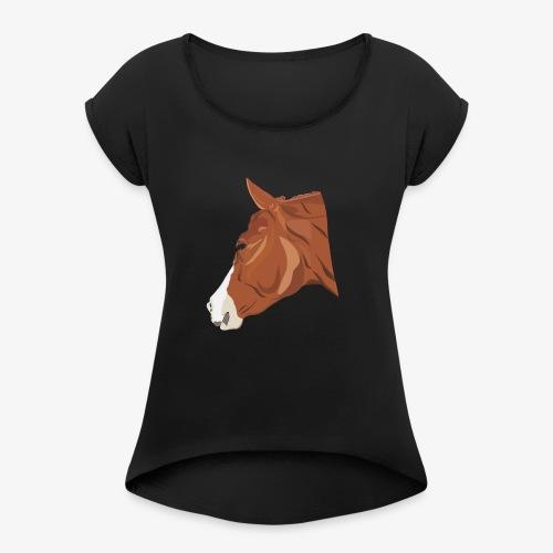 Quarter Horse - Frauen T-Shirt mit gerollten Ärmeln