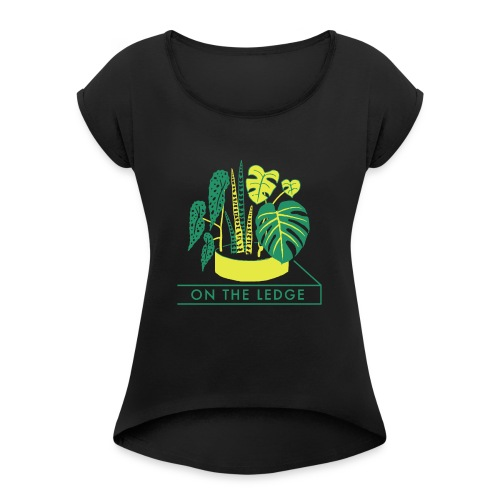On The Ledge green logo print - Women's T-Shirt with rolled up sleeves