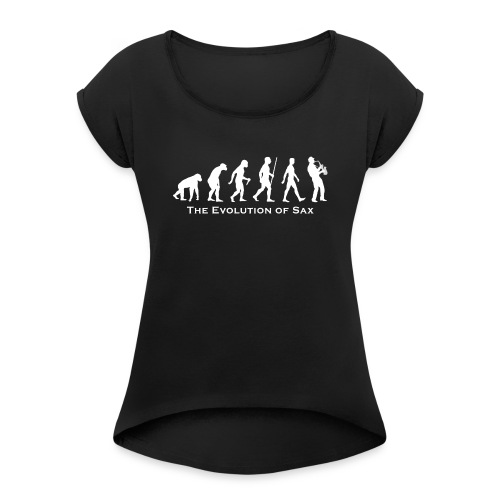 The Evolution Of Sax - Camiseta con manga enrollada mujer