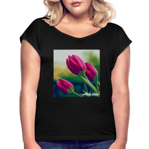 Blomster - Dame T-shirt med rulleærmer