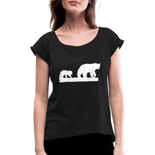Bär Bären Grizzly Raubtier Wildnis Nordamerika - Frauen T-Shirt mit gerollten Ärmeln