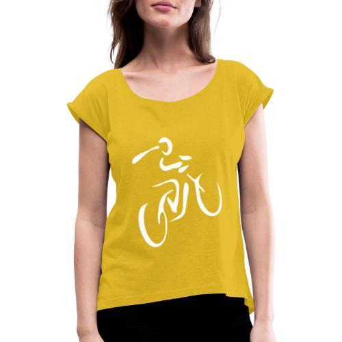 Fahrrad Fahrradfahren Fahrer Rad Fahrradfahrer - Frauen T-Shirt mit gerollten Ärmeln