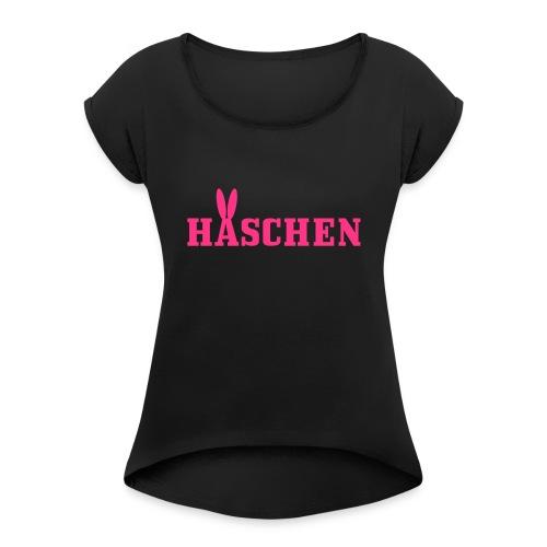 Häschen mit Öhrchen - Frauen T-Shirt mit gerollten Ärmeln