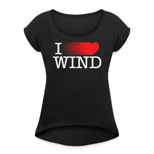 I LOVE WIND Black - Camiseta con manga enrollada mujer