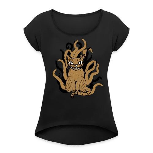 Tentakelkatzi - Frauen T-Shirt mit gerollten Ärmeln