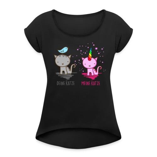 Vorschau: Deine Katze vs. Meine Katze - Frauen T-Shirt mit gerollten Ärmeln