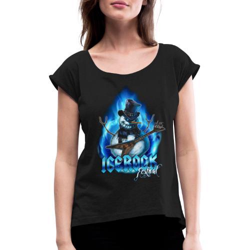 Snowman Evil - Frauen T-Shirt mit gerollten Ärmeln