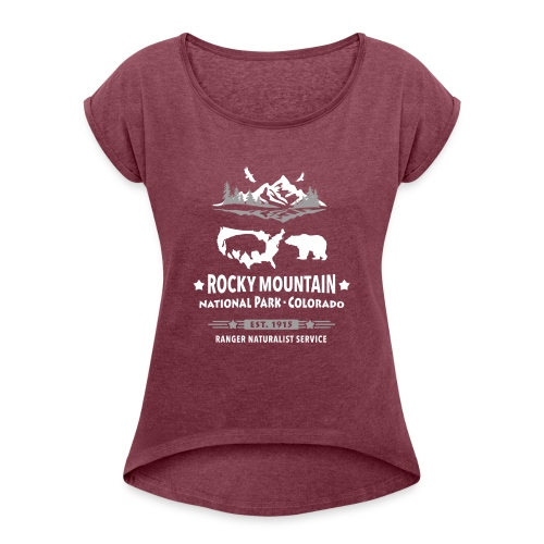 Rocky Mountain Nationalpark Berg Bison Grizzly Bär - Women's T-Shirt with rolled up sleeves