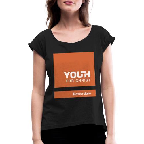 Logo drukwerk - Vrouwen T-shirt met opgerolde mouwen