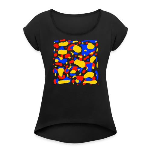 Red,Yellow, Blue - Women's T-Shirt with rolled up sleeves