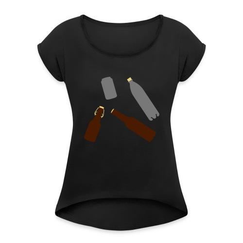 Flaschen und Dose - Frauen T-Shirt mit gerollten Ärmeln