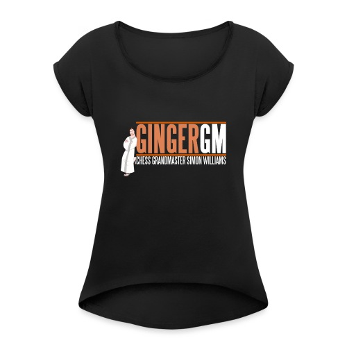 Ginger GM White Logo - Women's T-Shirt with rolled up sleeves