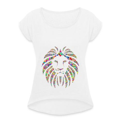 Ausdruck des Löwen - Frauen T-Shirt mit gerollten Ärmeln