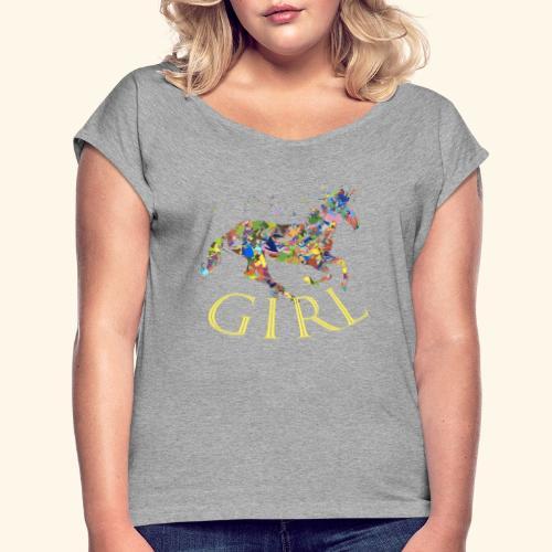 unicorn girl T-shirt - Maglietta da donna con risvolti