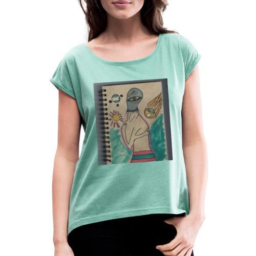 Alien conspirando - Camiseta con manga enrollada mujer