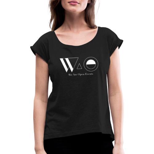 Camisetas / Sudaderas Negro - Camiseta con manga enrollada mujer