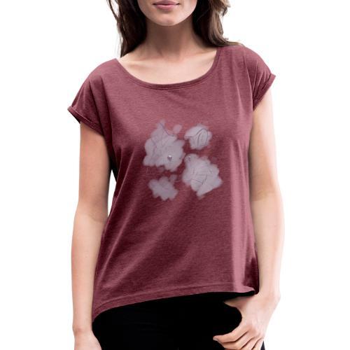 Violet splash chinchilla 2 - Naisten T-paita, jossa rullatut hihat