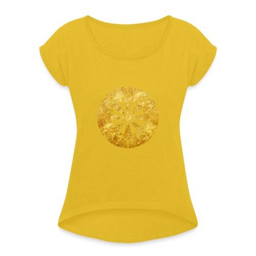 Sanja Matsuri Komagata mon gold - Women's T-Shirt with rolled up sleeves