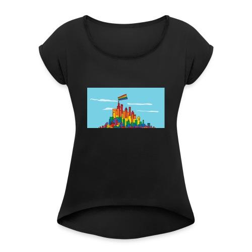 lgbtq town 1200x627 - Frauen T-Shirt mit gerollten Ärmeln