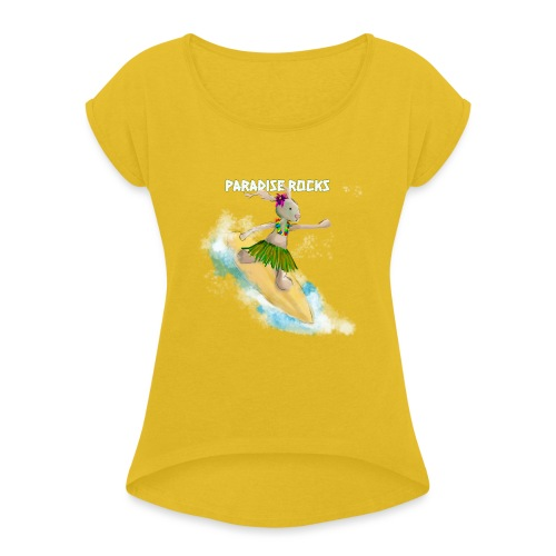 Bunny Riding A Surfboard - Women's T-Shirt with rolled up sleeves
